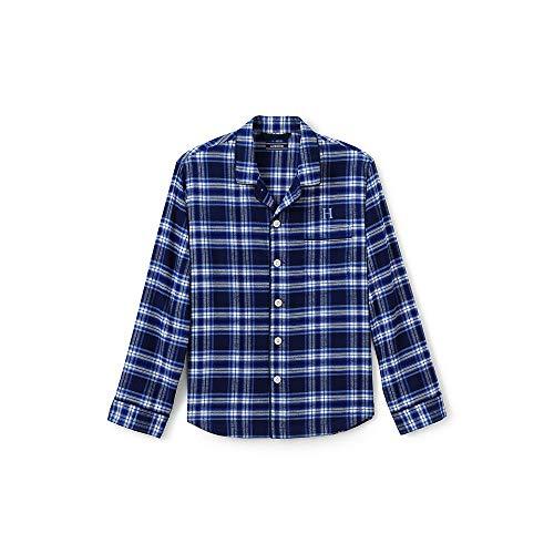 Lands' End Men's Flannel Pajama Shirt, XL, Deep Sea Plaid