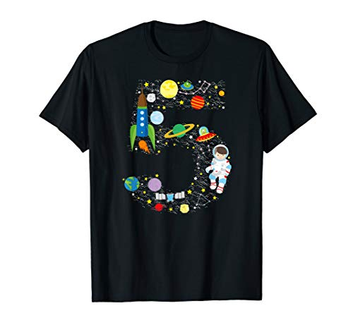 Outer Space Fifth Birthday Astronaut Number five T-shirt -