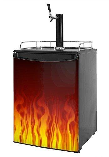 Kegerator Skin - Fire Flames on Black (fits medium sized dorm fridge and kegerators)