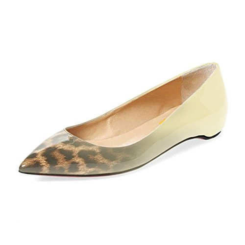 FSJ Women Sexy Leopard Prints Flats Hidden Low Heels Pumps Closed Pointy Toe Slip On Shoes Size 4-15 US Nude Leopard sale outlet gpVXyACX