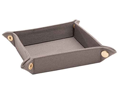 Mainstreet Collection Men's Valet Tray, Catch-All for Keys & Change, Keep Counter or Dresser Clutter Free, Square Size When Snapped Is 6-Inches by 6-Inches, Made Of Canvas In Gray (Change Tray Counter)