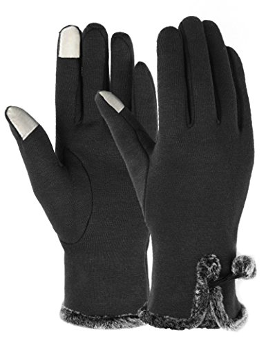 Fleece Windproof Gloves (ATIMIGO Winter Gloves for Women with Touch Screen Fingers Warm Texting Mittens)