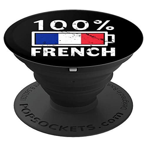 France Flag Design | 100% French Battery Power Tee - PopSockets Grip and Stand for Phones and Tablets ()