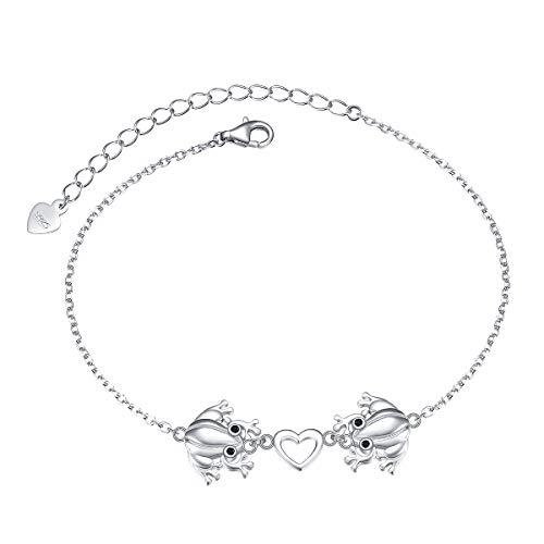 S925 Sterling Silver Frog Link Animal Heart Bracelet for Women Girl Jewelry