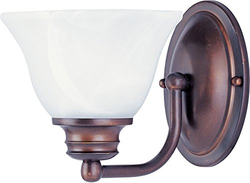 Marble Shade Glass (Maxim 2686MROI Malaga 1-Light Wall Sconce Bath Vanity, Oil Rubbed Bronze Finish, Marble Glass, MB Incandescent Incandescent Bulb , 100W Max., Damp Safety Rating, Standard Dimmable, Glass Shade Material, 4600 Rated Lumens)