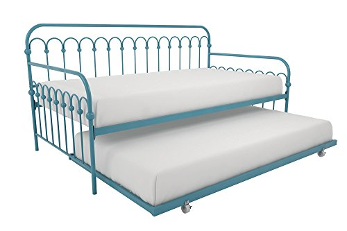 (Novogratz Bright Pop Twin Metal Daybed and Trundle, Stylish & Multifunctional, Built-in Casters, Blue Turqouise)