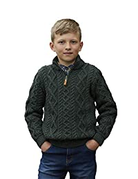Kids 100% Merino Wool Sweater with Quarter Length Zip, Army Green Colour