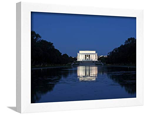 ArtEdge Lincoln Memorial Reflection in Pool, Washinton D.C, USA by Stocktrek Images, White Wall Art Framed Print, 12x16, Unmatted