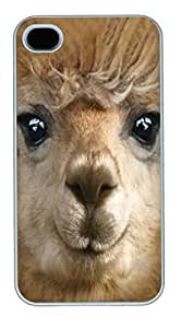 iPhone 4S Case iPhone 4S Cases Big Face Alpaca Polycarbonate Hard Case Back Cover for iPhone 4/4S White
