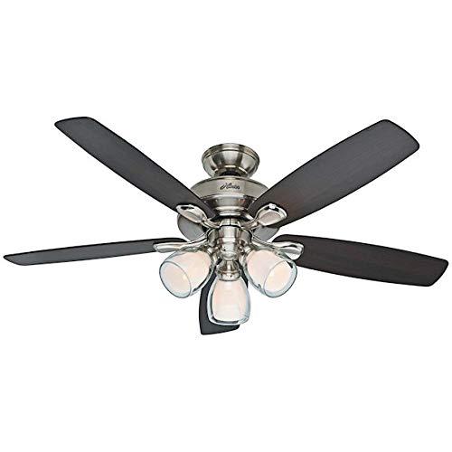 Hunter Meridale 52-in Brushed Nickel Downrod or Flush Mount Ceiling Fan with Light Kit