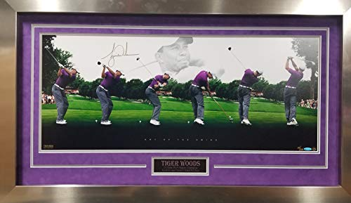 Tiger Woods Golf Signed Autograph Art Of The Swing Hand Numbered Custom Framed Suede Matted Photo Upper Deck Certified