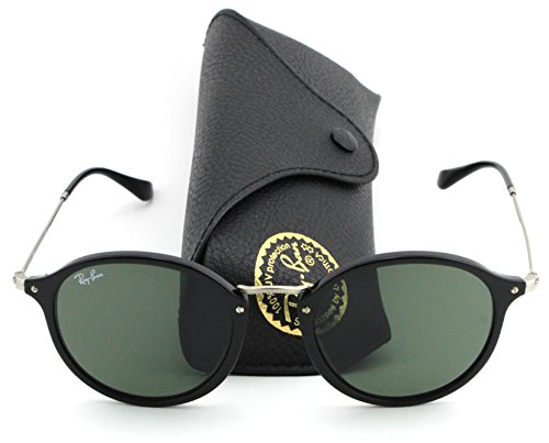 Ray-Ban RB2447 Unisex Round Sunglasses (Black Frame/Green Lens 901, - Glasses Ban Ray Round Fleck