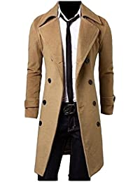 33d91018fc2db Solid Color Longline Slim Fit Double-Breasted Autumn Peacoat · ANDYOU-Men