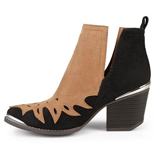Journee Collection Mujeres Stacked Wood Heel Botas De Dos Tonos Western Tan