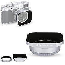 JJC Silver Reversible Metal Lens Hood and 49mm Filter Adapter Ring for Fuji Fujifilm FinePix X100F, X100T, X100S, X100 Digital Camera