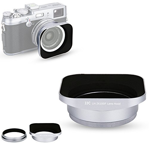 JJC Silver Reversible Metal Lens Hood and 49mm Filter Adapter Ring for Fuji Fujifilm FinePix X100F, X100T, X100S, X100 Digital (Fuji Lens Filter)