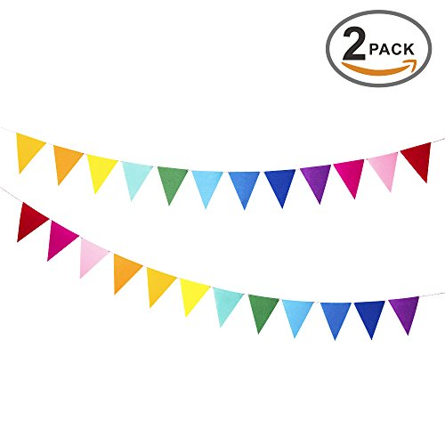 Rainbow Felt Fabric Bunting, 24 Pcs/ 16.4 Feet(2 Pack) Decoration Banners for Birthday Party, Baby Shower, Window Decorations and Children's Living Room Decorations