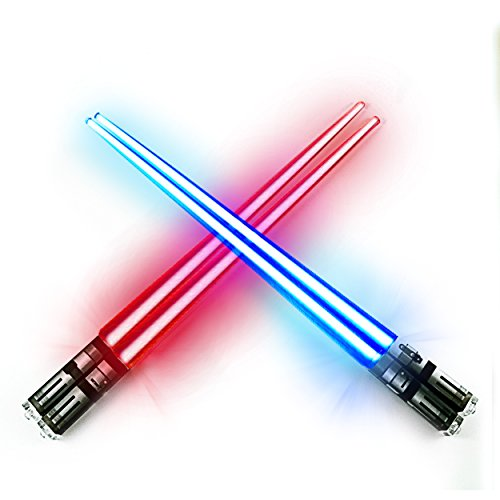 Chop Sabers Light Up LightSaber Chopsticks Set, 2 Pairs, Red Blue