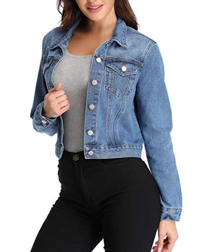 Anienaya Women's Washed Basic Button Down Denim Jean Jacket w 2 Chest Pockets ()