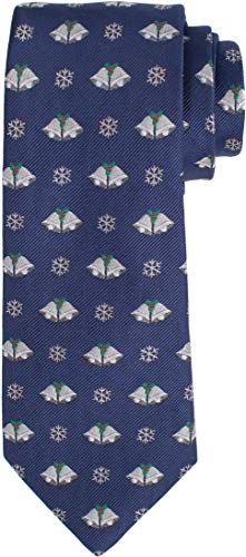 - KissTies Navy Blue Tie Silver Bells Necktie Mens Dressing + Gift Box