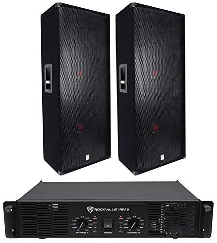 ((2) Rockville RSG15.24 Dual 15 PA Speakers + Rockville RPA9 Power Amplifier Amp)