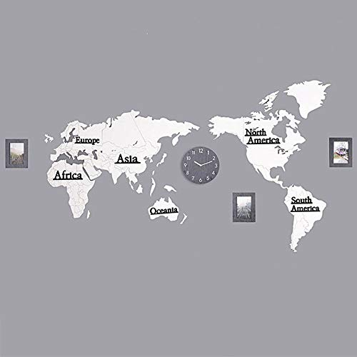 QWER Clock World Map 3D Photo Frame Clock Mute Clock Mirror Wooden Clock Adapt to Cafe Hotel Public Place Office, Living Room,7