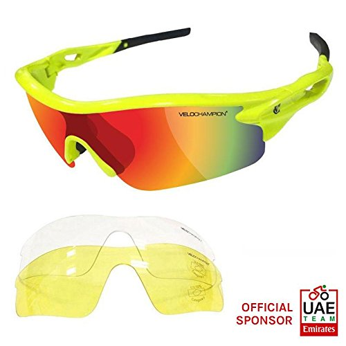 VeloChampion Warp Cycling Running Sports Sunglasses - (with 3 lens: inc revo orange, clear) (Fluoro Yellow Frame with - Glasses Channel Sun