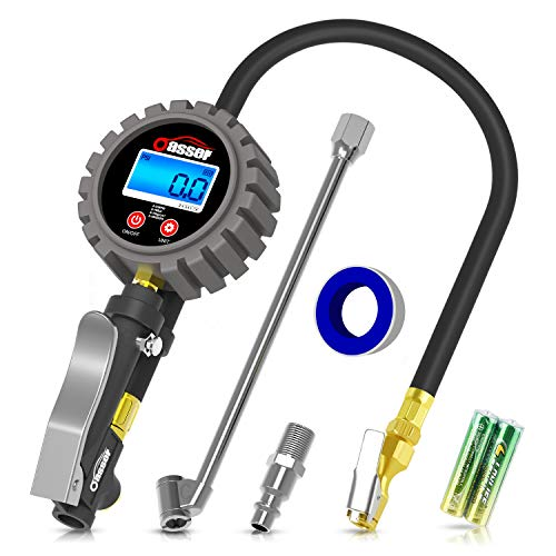 Oasser Digital Tire Inflator with Pressure Gauge 255PSI Tire Pressure Gauge Inflator Deflator Compressor Accessories with Brass Air Chuck Dual Head Air Chuck Quick Connect Coupler Backlit LCD ()