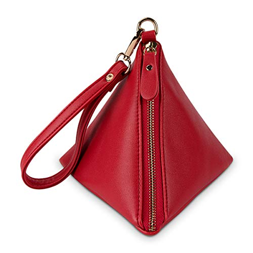 Purse Tassel Xidan Wristlet Triangle PU Handbag Women Leather Red Clutch Wallet xwq4UTF