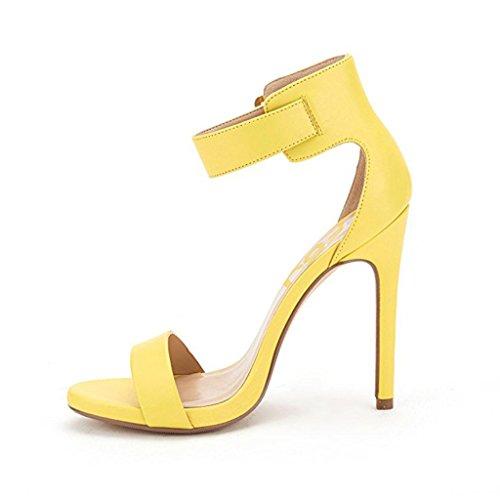 Yellow Heels 4 Sandals Strap Pumps Ankle Buckle Women Versatile Open Size 15 High Toe Summer FSJ US TUAan