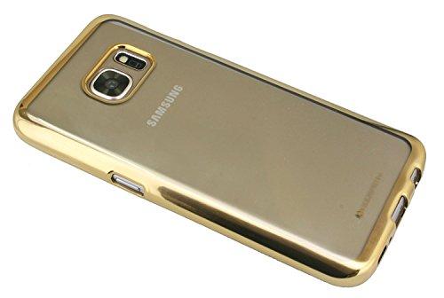TPU SchutzHülle für Iphone 8 Silikon Hülle Etui Case Cover Silikontasche in Transparent mit GOLD-Umrandung Silikonschale Tasche Bumper Zubehör @ Energmix