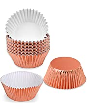 100Pieces Foil Cupcake Cases Baking Cake Paper Cups(Rose Gold)