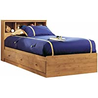South Shore Little Treasures Twin Storage Bed and Bookcase Headboard, Country Pine