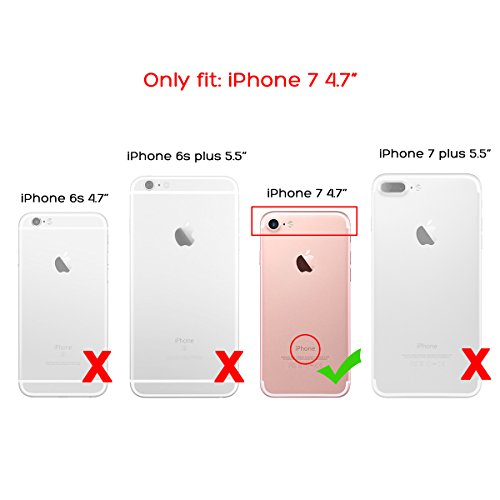 Funda iPhone 7, ULAK Luxury 3in1 Hybrid Silicone PC Impact antideslizante Funda protectora resistente a los golpes para iPhone 7 4.7 pulgadas (bling rose gold)