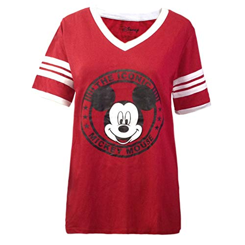 Mickey Mouse Disney Womens Junior Varsity Football Tee (X-Large, Red/White)]()