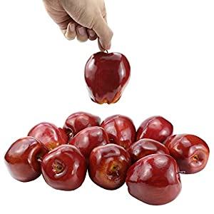 "BcPowr 12PCS Fake Fruit Apples Artificial Deep Red Apples Artificial Lifelike Simulation Red Apples Fake Fruit Home House Display Decoration for Still Life Paintings Kitchen Decor (Red, 3.15""x3.54"") 2"