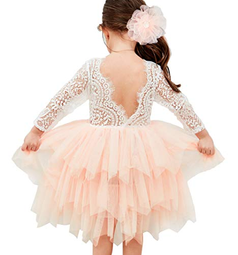 Topmaker Backless A-line Lace Back Flower Girl Dress (9-10Y, Sleeve-Pink) -