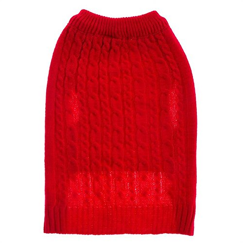 Large Cable Dog Sweater (Top Paw Red Cable Dog Sweater -)