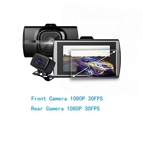 3 inch Dual Car Dash Camera Front 1080P 170 Degree + Rear 1080P @30 FPS Dash Cam 140 Degree Wide Angle FCWS LDWS WDR Parking Monitor Night Vision NT96663 Chip -  Shadow