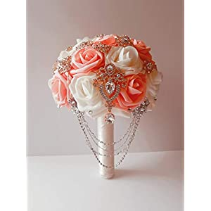 Pink and Ivory bridal bouquet, pink and ivory wedding bouquet, brooch bouquet, glam bouquet, 9 inch bouquet, custom bouquet, personalized bouquet 67