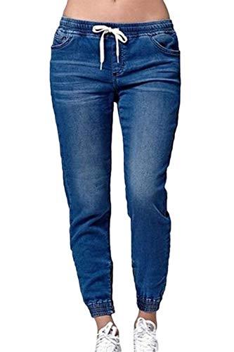 De Darkblue Taille Jogger Stretch lastique Occasionnels Conique Jean Femmes Jeans Les UpvOqBp