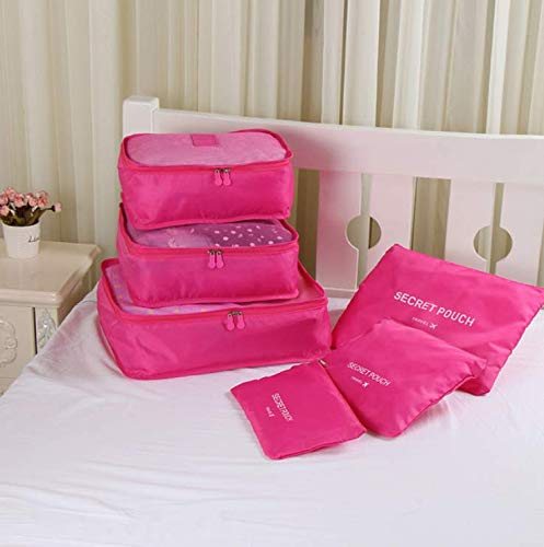 Price comparison product image LaxStore New 6Pcs / Set Don't Miss Oxford Fabric Travel Mesh Bag Inside Bag Luggage Organizer Packing Cube Organizer (Rose Red)