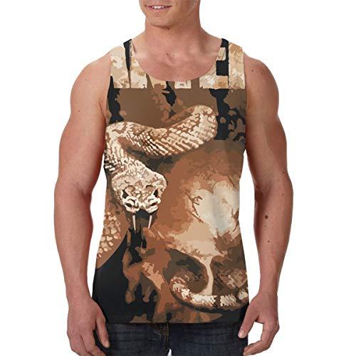 - LixuA Mens Pantera Rattler Skull All-Over Print Tank Top Slim Fit Muscle Shirt Black