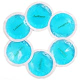 LotFancy Small Ice Packs, Reusable Gel Packs with Cloth Backing, Perfect Hot Cold Therapy for Wisdom Teeth, Breastfeeding, Tired Eyes, Kids Injuries, Headaches, Sinus Relief and More, Pack of 6, Blue