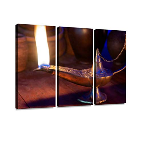 Bronze Table Lamp Framed Art - 7houarts Ancient Oil lamp Burns on a Wooden Table Canvas Wall Artwork Poster Modern Home Wall Unique Pattern Wall Decoration Stretched and Framed - 3 Piece