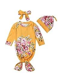 Newborn Baby Boy Girl Long Sleeve Floral Infant Sleepwear Pajamas Set