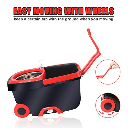 kilokelvin 360 Spin Mop Bucket with 2 Extra Microfiber Head Refills 2x Wheels 61inch Extended Handle Stainless Steel Drainage Basket for Home Floor Cleaning by Kilokelvin (Image #5)