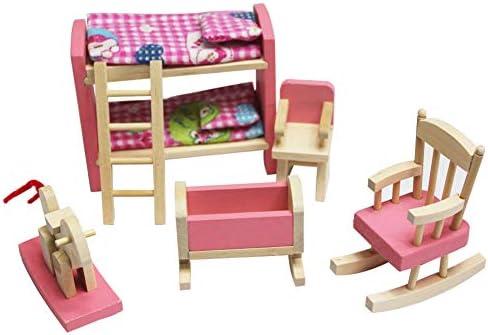 FINIVE Vortäuschen Sie Spiel-pädagogisches Spielwaren-Spielset, 6Pcs Hölzernes Puppenhaus-Möbel-hohes Niedriges Bett Vortäuschen Spiel-pädagogisches Kinderspielwaren