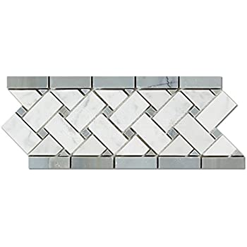 Carrara White Italian Carrera Marble Listello Tile Mosaic Border 4