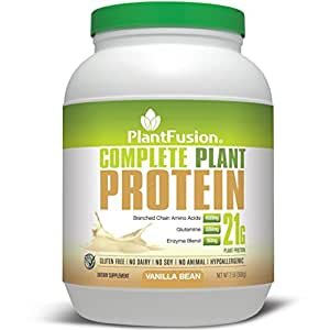 PlantFusion Complete Plant Based Protein Powder, Vanilla Bean, 21g Protein, 30 Servings, 2lb Tub